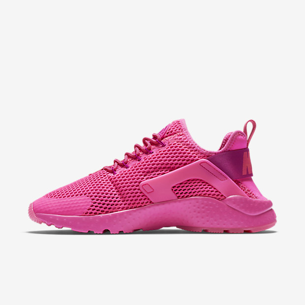 nike huarache ultra breathe junior black and pink