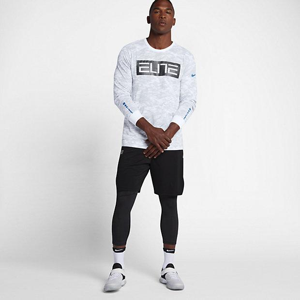 ナイキ ドライ エリート カモ メンズ ロングスリーブ バスケットボール Tシャツ