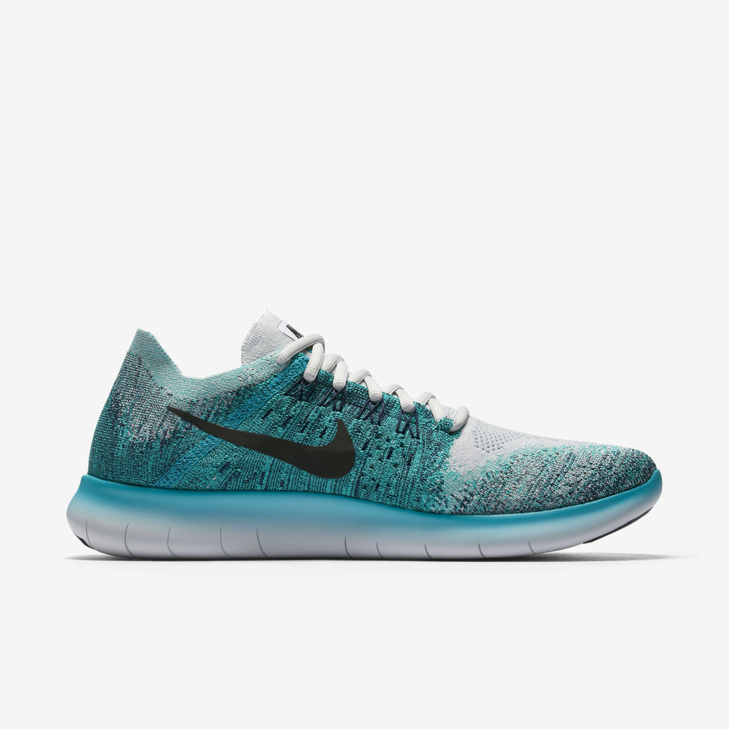 nike black and turquoise knit running shoes